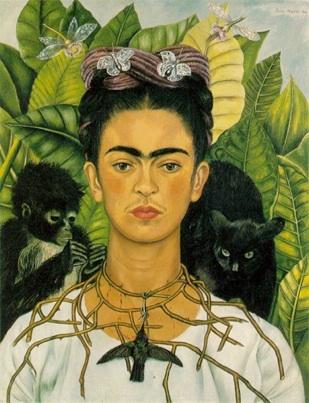 Frida Kahlo: 'Selvportræt med tornehalskæde og kolibri', 1940