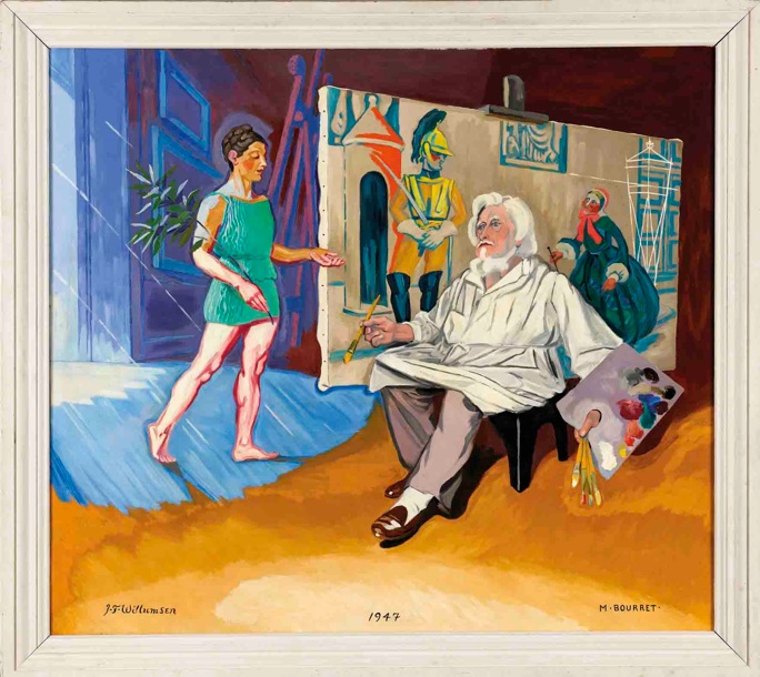 J.F. Willumsen og Michelle Bourret: 'Den gamle kunstmaler og hans muse', 1947