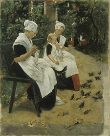 Max Liebermann: 'Vajsenhuspiger i en have. Amsterdam', 1885.