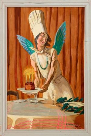 J.F. Willumsen: 'Fødselsdagskagen. En spøg', 1943