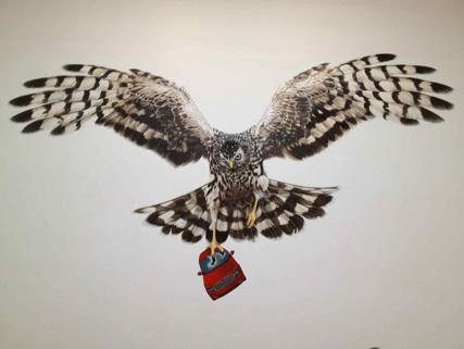Vægmaleri af Jeremy Deller i Storbritanniens pavillon, Venedig Biennalen 2013. Eget foto.