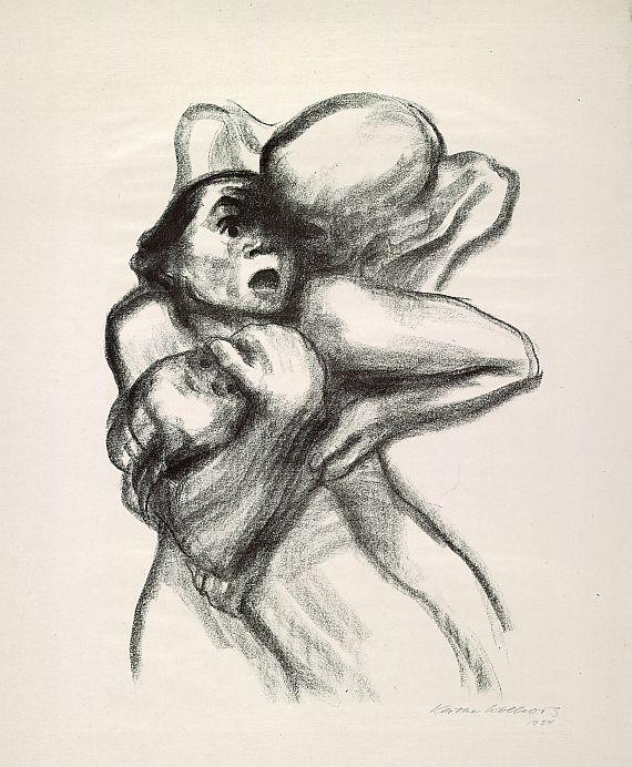 Käthe Kollwitz: 'Døden griber en kvinde', 1934