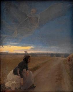 L.A. Ring: 'Aften. Den gamle kone og døden', 1887