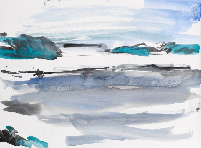 Per Kirkeby, Akvarel fra Nordstgrnland, 2011. Akvarel pa papir, privateje. Foto Anders Sune Berg