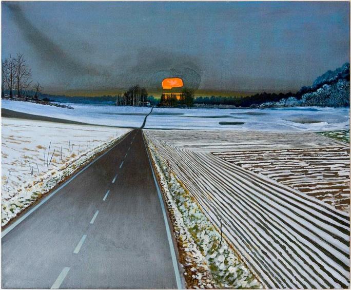 søren Martinsen: 'Landskab med orange kranie', 2012