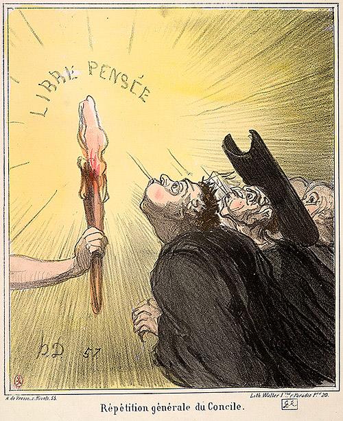 Honoré Daumier:  'Generalprøve på koncilet', 1869