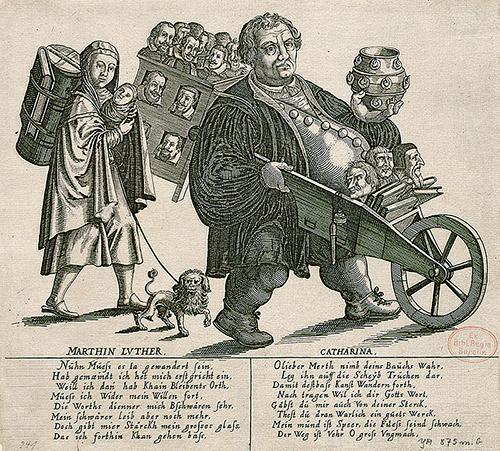 Kobberstik fra første halvdel af 1600-tallet, udført af anonym kunstner. Martin Luther og konen, Katharina von Bora, spottes i tekst og billede