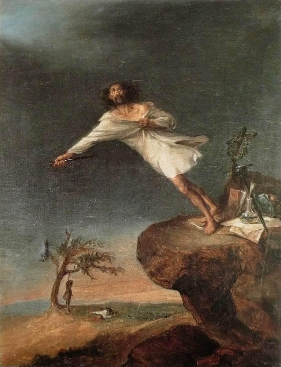 Leonardo Alenza y Nietos: 'Satire over det romantiske selvmord', 1839