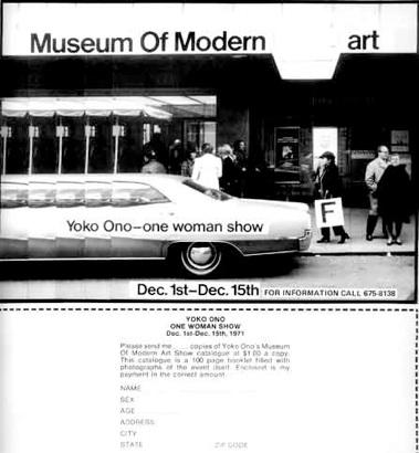 Yoko Ono: Plakat til fiktiv udstilling på MoMA, 1971