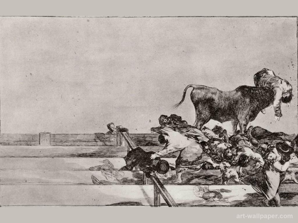 Francisco Goya: ''Frygtelige begivenheder på de forreste rækker i arenaen i Madrid og borgmesteren i Torrejons død', 1815-1816.