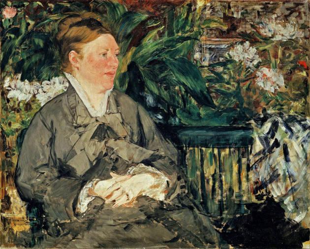 Édouard Manet: 'Madamme Manet i vinterhaven', 1879