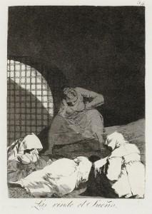 Francisco Goya: 'Væk dem ikke, søvnen er måske deres eneste trøst', fra serien Los Caprichos (lunerne), 1797-1798