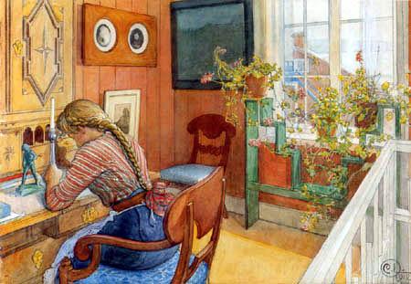 Carl Larsson: 'Brevskriveren', 1912 Bemærk Karin Bergöö Larssons egenartede reolsystem foran vinduet