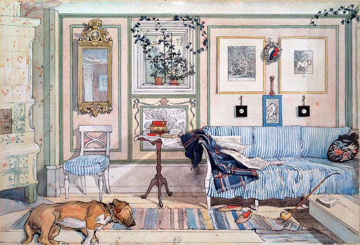 Carl Larsson: 'Hyggehjørnet', 1894.  Avisen ligger og roder hyggeligt i sofaen og selv hunden er så afslappet, at den er gået omkuld!