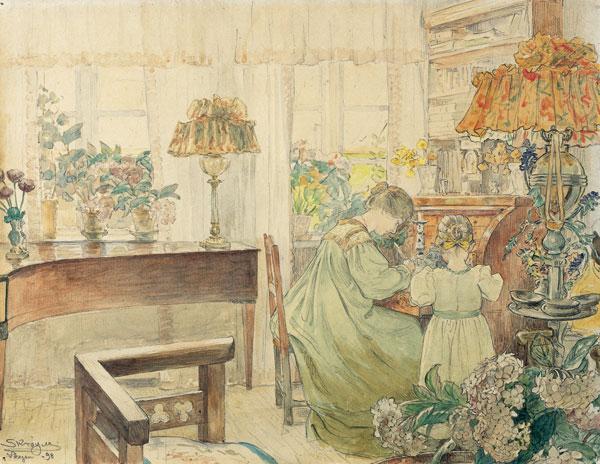 P.S. Krøyer: 'Marie og Vibeke ved chartollet i hjemmet ved Skagen Plantage' , akvarel fra 1898