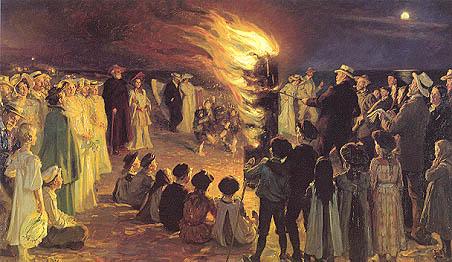 P.S. Krøyer: 'Sankt Hansblus på Skagen Strand', 1906.