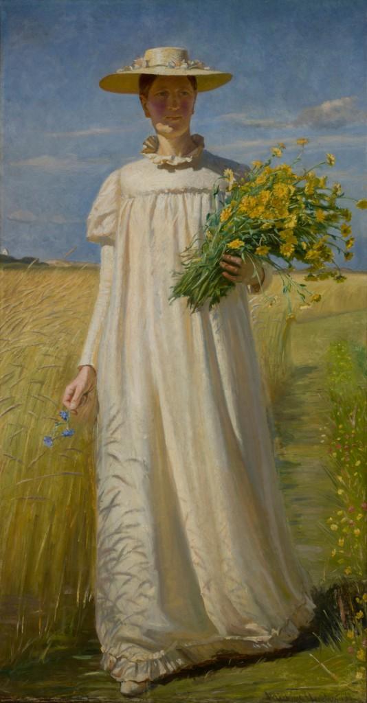 Michael Ancher: Anna Ancher vender hjem fra marken',1902. Skagens Museum. Foto: Skagens Museum