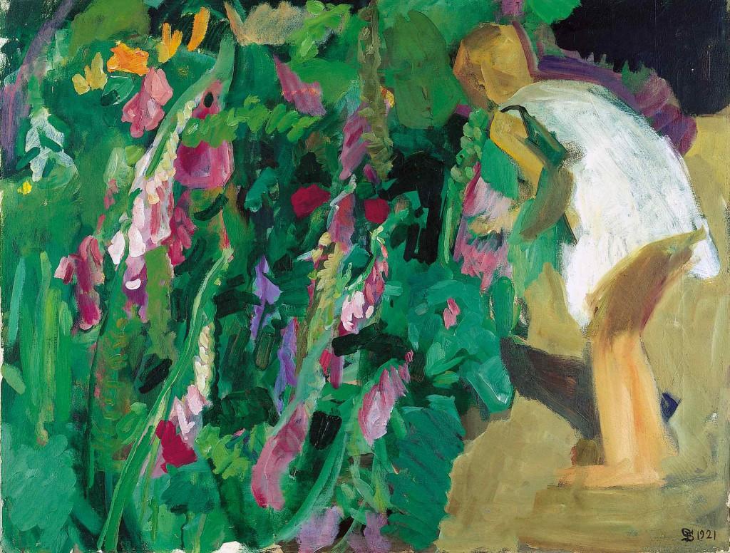 Fritz Syberg: 'Blomstrende fingerbøl og pige (Rabbe)', 1921