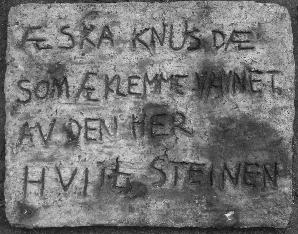 Lydia Hauge Sølvberg: 'Æ ska knus dæ som æ klemme vannet av den her hvite steinen', 2014, vurdering: 3.500 kroner