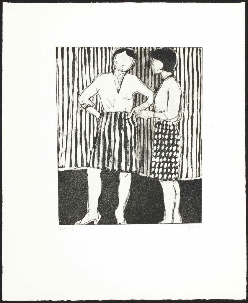 Richard Diebenkorn: 'Untitled (Two women wearing patterned skirts standing against striped background)', 1965