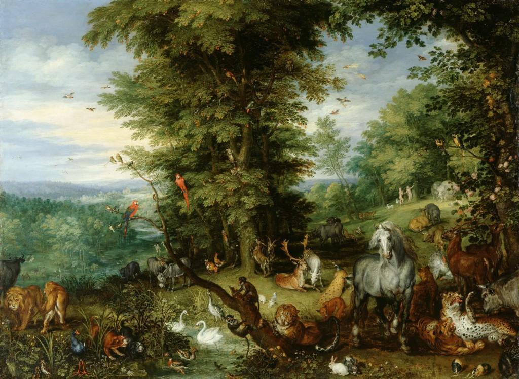 Jan Brueghel den Ældre: 'Adam og Eva i Paradisets Have', 1615. Malet med olie på kobber
