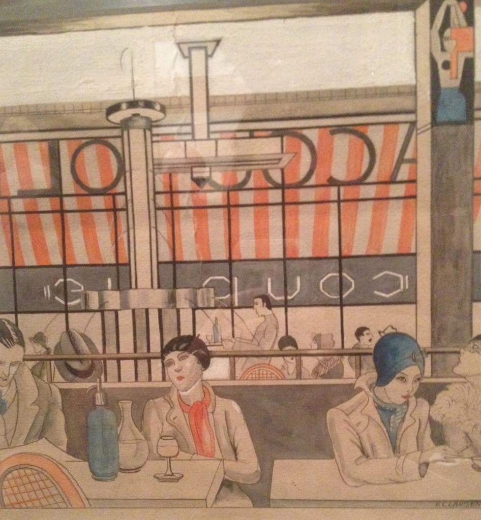 Franciska Clausen illustration med motiv fra café, ca. 1924