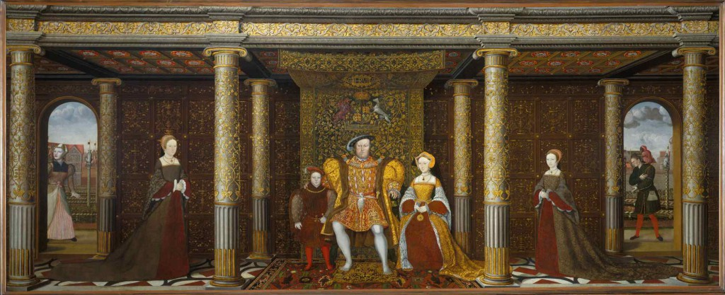 Ukendt maler: 'The Family of Henry VIII', 1540'erne. Bemærk at Jane Seymour, lige til højre for kongen, er med, samtidig med Edward, Prince of Wales, den senere Edward VI (der ses på kongens anden side), selvom Seymour døde i baselssengen, da hun havde født ham. Længere til venstre er det Catherine of Aragons datter, prinsesse Mary, mens prinsesse Elizabeth til højre er Anne Boleyns datter. Og så hedder narren, der ses helt ude til højre i øvrigt Will Sommers ...