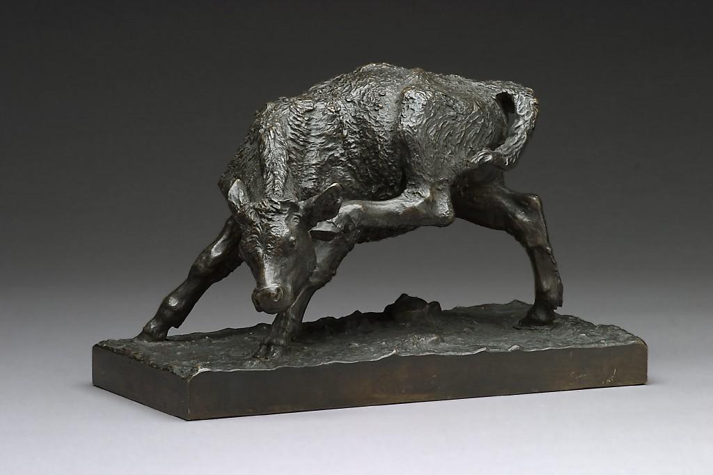 Anne Marie Carl-Nielsen: 'Kalv, der klør sig', 1887. Bronze. H. 18 cm. Carl Nielsen Museet. Foto: Niels Ulrich Hansen