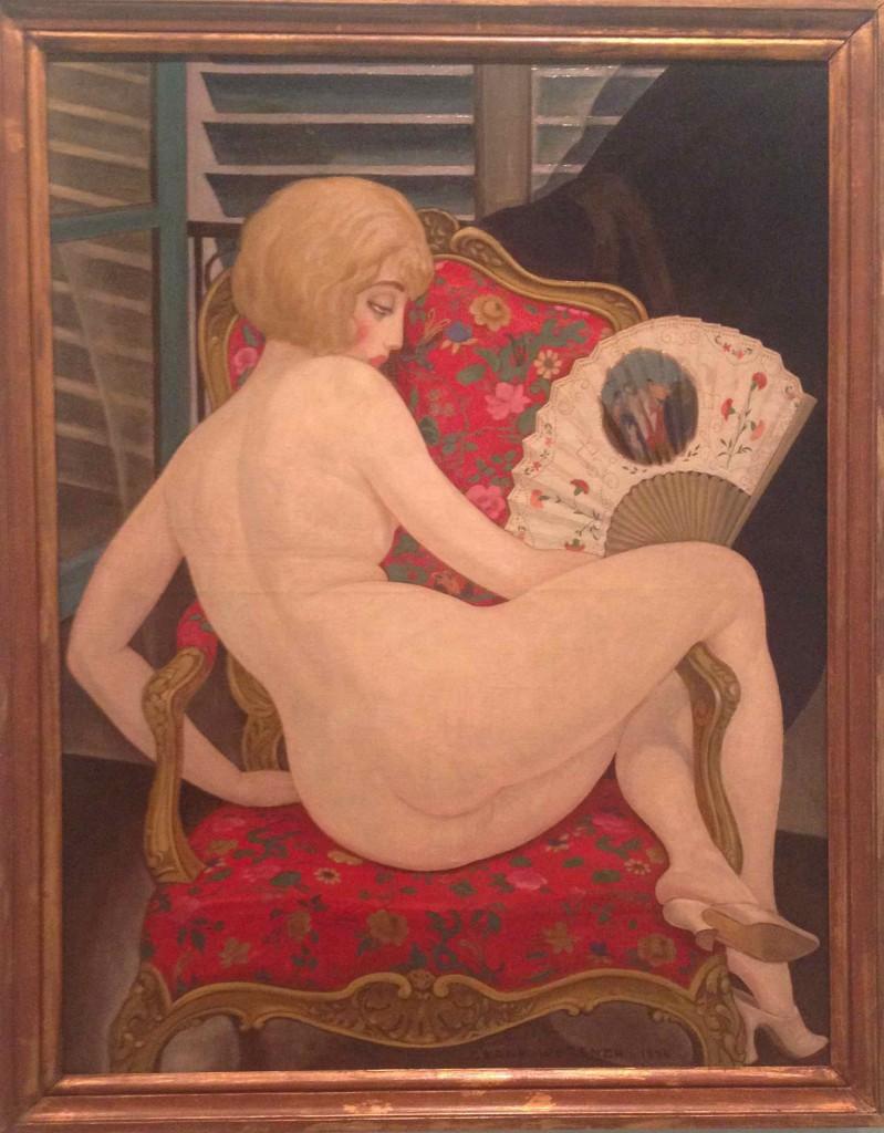 Gerda Wegener: 'I sommervarmen', 1924. Eget foto - derfor er farverne ikke helt rigtige! Men bemærk alligevel det Matisseske møbelstof og skodderne i baggrunden, der ligeledes får mig til at tænke på Matisse.