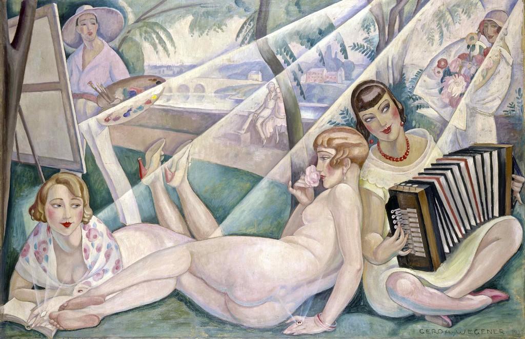 Gerda Wegener: 'En sommerdag', 1927. Dette er, så vidt man ved, det eneste maleri, hvor Einar og Lili optræder samtidig: Einar står ved staffeliet, Lili slænger sig, nøgen og rygvendt, i midten, omgivet af den læsende forlæggerhustru fru Guyot og Rudolph Tegners kone, Elna, på akkordeon. Foto: Bruun Rasmussen Kunstauktioner