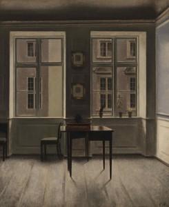 Intet er overladt til tilfældighederne, selvom Hammershøi fandt de fleste af sine motiver i hjemmet. Hans 'Interiør' fra ca. 1901 viser da også hans forkærlighed for en rytmisk gentagelse, her af firkantede former. Privateje. Foto: KODE the Art Museum of Bergen