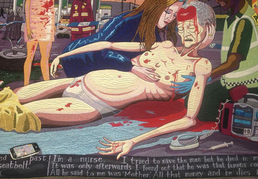 Detalje fra den sidste af seks scener, der til sammen fortæller om 'The Vanity of Small Things', 2012. Igen er inspirationen hentet flere steder, bl.a. i Perrys arbejde med tv-serien 'All in the Best Possible Taste', om smag som klassemarkør, i kunsthistoriens mange pietàer, hvor Maria holder den døde Kristus, og hos William Hogarth, der i 1700-tallet skabte en billedcyklus om figuren Tom Rakewells ruin. Hos Perry går turen (i alle tilfælde i første omgang) den anden vej gennem klassesamfundet for hans hovedperson, Tim Rakewell, der dog alligevel ender sine dage ovenfor ... Eget foto fra ARoS
