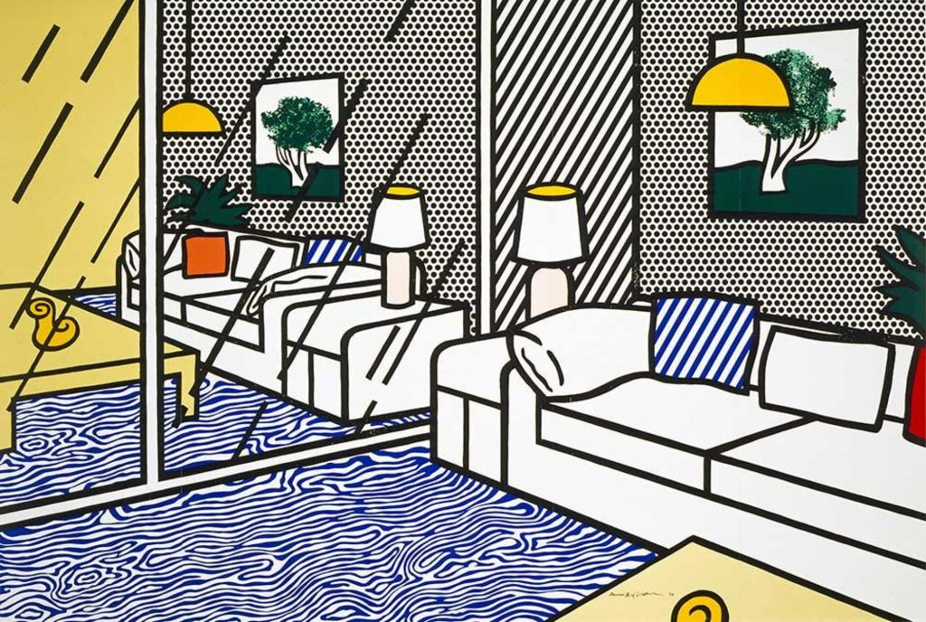 Roy Lichtenstein: 'Wallpaper with Blue Floor Interior', 1992. Collection of the Jordan Schnitzer Family Foundation. © Estate of Roy Lichtenstein / Gemini G.E.L.