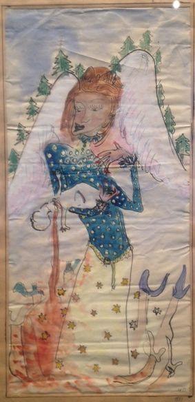 Tegningen er udført af en purung Méret Oppenheim, men adskiller sig ikke markant fra en del af vores samtids kunst. Motivet er en alternativ engel og handler måske om Oppenheims beslutning om ikke at få børn. Eget foto fra Øregaard Museum